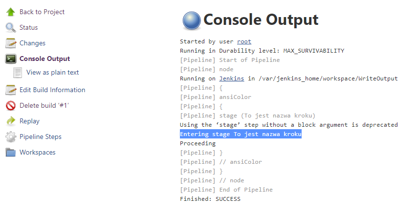 Output konsoli